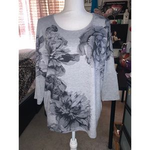 Gray Flowers Pullover